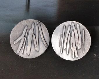 silver disc ear studs OOAK