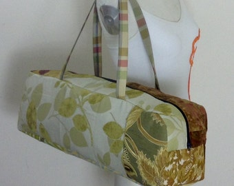 Yoga bag, yellow patchwork with leaves