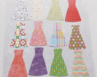 Set of 12 Pretty Long Party Dresses  Die Cut