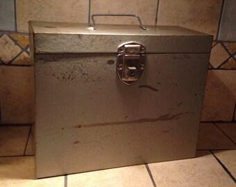 Excelsior Gray Tin File Storage Box