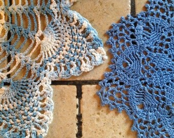 Two Blue Hand-Crocheted Doilies