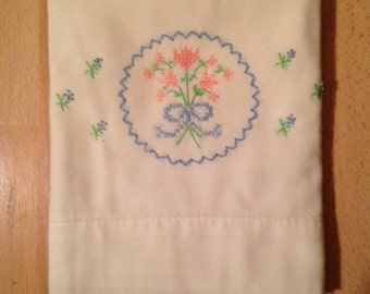 Hand Embroidered Pink and Blue Tulip Pillow Case