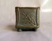 handmade stoneware footed vessel, vertical business card holder, salt cellar, toothpick holder, make-up pencil holder