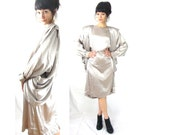 80s drapey metallic dress / sashes / golden girls plus kim k / medium / large