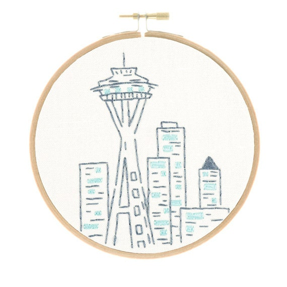 SEATTLE SPACE NEEDLE pre-printed fabric for embroidery ...