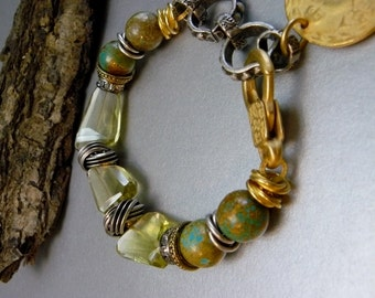 Natural Yellow Citrine and Turquoise Bracelet with Mixed Metals and Brushed Owl Coin Charm - Edgy - Original - Unique - Ooak - Adjustable