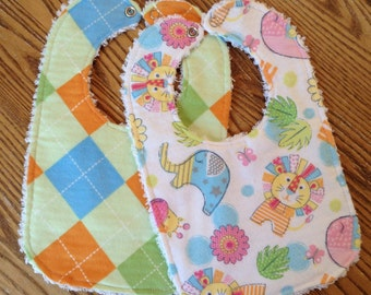 Flannel and Chenille  Baby Bib Set for Baby, Jungle Animals, Argyle, Snap Close, ready to ship