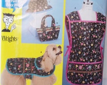 Quilted Home Accessories, Simplicity 0705 Sewing Pattern. Cobbler Apron, Bucket Hat, Dog Coat, Fashion Tote Bag Sewing for Dummies UNCUT