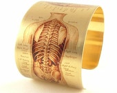 Human Anatomy  Biological Illustration  Anatomical Human Body Organs  Brass Cuff Bracelet  Medical Student Gift  Perfect Gift Ideas