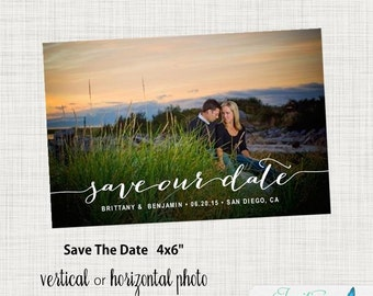 Calligraphy Save the Date Postcard - Photo Save the Date