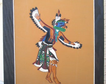 Vintage Native American Tooled Leather Craft Eagle Kachina Dancer Wall Art Painting Signed Ray Briggs