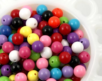 Chunky Resin Beads - 10mm Chunky Gumball Bubblegum Resin Beads - 100 pc set