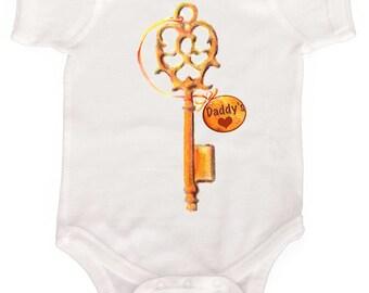 Sweet Baby Girl Bodysuit Key to Daddys heart Romper Infant tees Nice baby shower gift