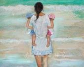 """Mother Children Twins Boy Girl Art Print Wall Art Kids Sister Beach Mom Daughter Son Beach Theme """"My Beach Buddies"""" Leslie Allen Fine Art"""