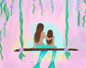 "Mermaid Art Print Mermaid Painting Art GICLEE Mermaid Wall Mermaid Decor Mermaid Theme  ""What a Lovely Day Together"" Leslie Allen Fine Art"
