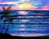 "Ocean Art Print Beach Art Painting Paintings Beachs Palm Trees Sunset Sea Landscape Beach Theme  ""Oceans Magic"" Leslie Allen Fine Art"