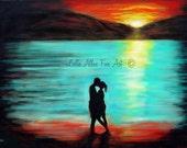 "Couple ART PRINT GICLEE Couple Wall Art Ocean Waves Sunset Abstract Love Romantic Loving True Love ""Romantic Sunset"" Leslie Allen Fine Art"