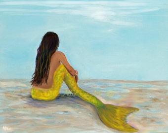 "Mermaid Art Print Giclee Yellow Mermaid Tail Mermaid Theme Mermaid Decor Beach Art Mermaids   ""Mermaid Sunny""  Leslie Allen Fine Art"