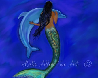 """Mermaid ART Mermaids Mermaid Art Print Mermaid Decor Dolphin Art Print Dolphins Underwater """" Mermaids Friendship"""" Leslie Allen Fine Art"""