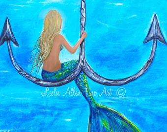 """Mermaid Art Mermaid Art Print Giclee Mermaid Decor Theme Ocean Fantasy Blonde Haired Mermaid """"Mermaids Anchor """" Leslie Allen Fine Art"""