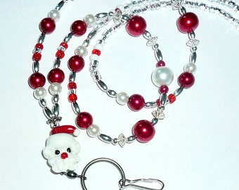 Santa: Beaded Lanyard, Id Badge Holder, Badge Holder