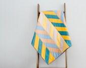 Modern Baby Boy or Girl Quilt, Baby Blanket, Crib Quilt, Stroller Blanket - Blue and Yellow Herringbone