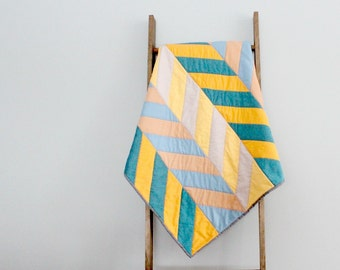 Modern Baby Boy or Girl Quilt, Baby Blanket, Crib Quilt, Stroller Blanket - Blue and Yellow Herringbone