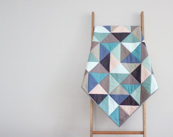 Modern Baby Quilt, Baby Blanket, Crib Quilt, Stroller Blanket - Made To Order in Half-Square Triangles, Colors of Your Choosing