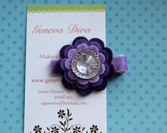 Purple Bling Stacked Felt Flower Clip