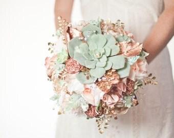 SALE Succulent Bouquet Alternative, Peach, Mint Copper Wedding fabric brooch bouquet,  artificial bouquet, Rose Gold Sola Flower bouquet
