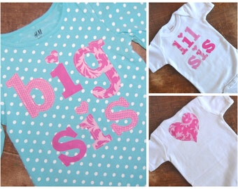 Big Sister Little Sister Shirt Set / Big Sis Lil Sis Set / Ready To Ship / Size Size 4-6 and 0-3 months / Birth Announcement Photos