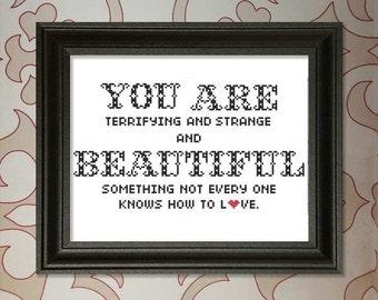 You are Beautiful cross-stitch pattern
