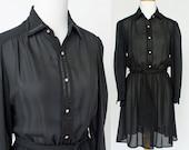 70's Sheer Black Mini Shirtwaist / Rhinestone Buttons / Small