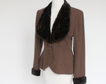 40's Fitted Brown Wool Jacket / Fur Collar & Cuffs / Small