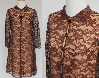 60's Brown Lace Dress / Tent Dress / Long Lace Sleeves / Carol Craig / XSmall to Small