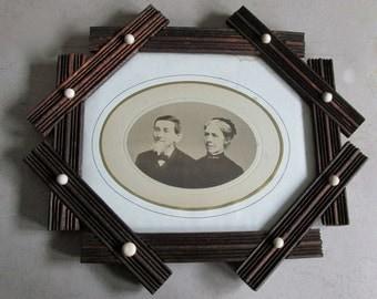 c1870-1880s Octagon Frame w/ Porcelain Buttons