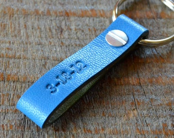 Personalized Bright Blue and Halftone Green Keychain- Long & Skinny Style