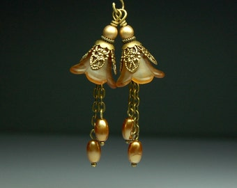 Vintage Style Bead Earring Dangles Hand Dyed Brown Lucite Flowers Pair