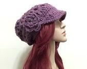 Boho Slouchy Brimster - in Dusky Purple - Soft Acrylic Designer Yarn - Open Stitch Design - Crochet Flower Motif