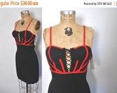 SALE 1990s Micro Mini Dress / corset lace up / bodycon bandage
