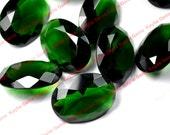 sale - 30x22mm Green Emerald Oval Glass Jewel Stone Infinity Cosplay Filigree Wrap - 3pc