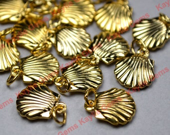 Vintage Sea Shell Charms Gold 11mm Cute - 6pcs - Limited Offer