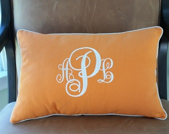 CUSTOMIZABLE Embroidered Monogram Pillow Cover