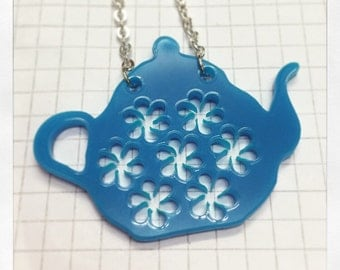 Floral Teapot Necklace - laser cut acrylic
