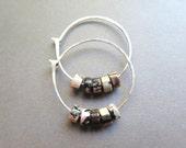 Sample Sale. pink and black earrings. rhodonite jewelry. sterling silver hoops. Canadian seller