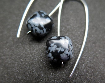 black and white earrings. snowflake obsidian jewelry. natural stone earings in hammered sterling silver.