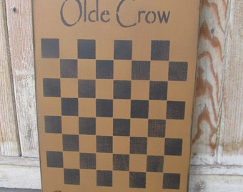 Primitive Olde Crow Gameboard Co. with Stars Checker Game Board GCC6225