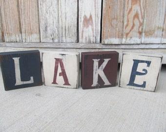 Nautical Beach Rustic LAKE Wooden Block Set of 4 GCC06277