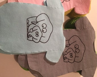 Set of 30 baby shirt shaped napkins with mommy and baby elephant.  Lots of colors.