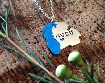 Grand Valley GVSU Michigan and Lake Michigan Necklace in Copper or Sterling Silver School Pride Back to School
